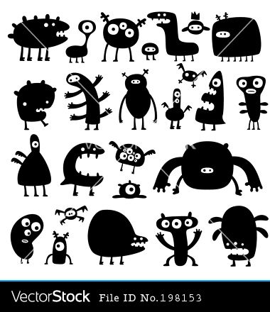 monster silhouettes - great for hand puppet ideas, a matching game, etc, have to see if I can re-color