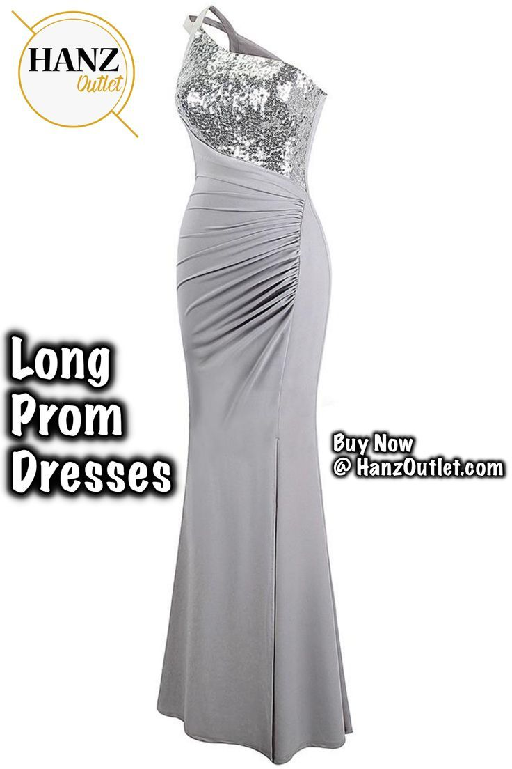 75ff914cf2b One Shoulder Pleated Sequin Slit Long Prom Dresses Gray #fashion # OneShoulder #Long #