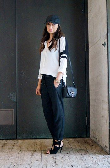 Varsity Track Street Style Look | Nordstrom with cream and black blouse black accessories