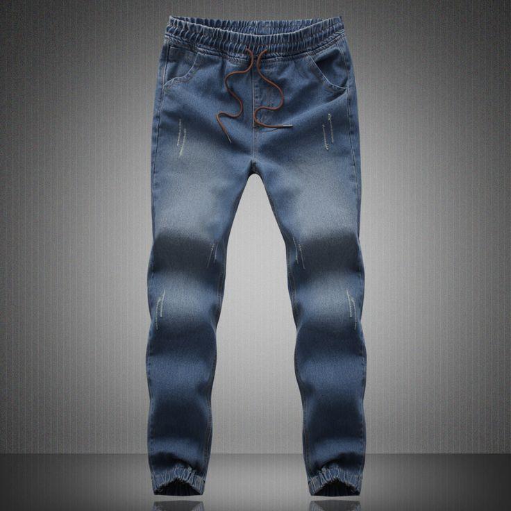 New Brand Mens Biker Jeans Quality 2017 New Arrival Jeans Men Fashion Slim Fit Drawstring Denim jeans Pants Men 4XL 5XL