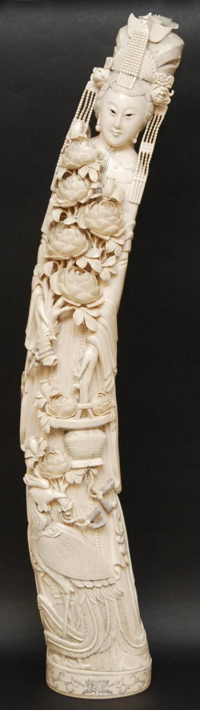 Large antique chinese carved ivory quan yin tusk http