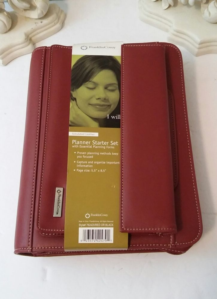 FranklinCovey Planner Starter Set Ring-bound Red Faux Leather Binder Set Undated #FranklinCovey