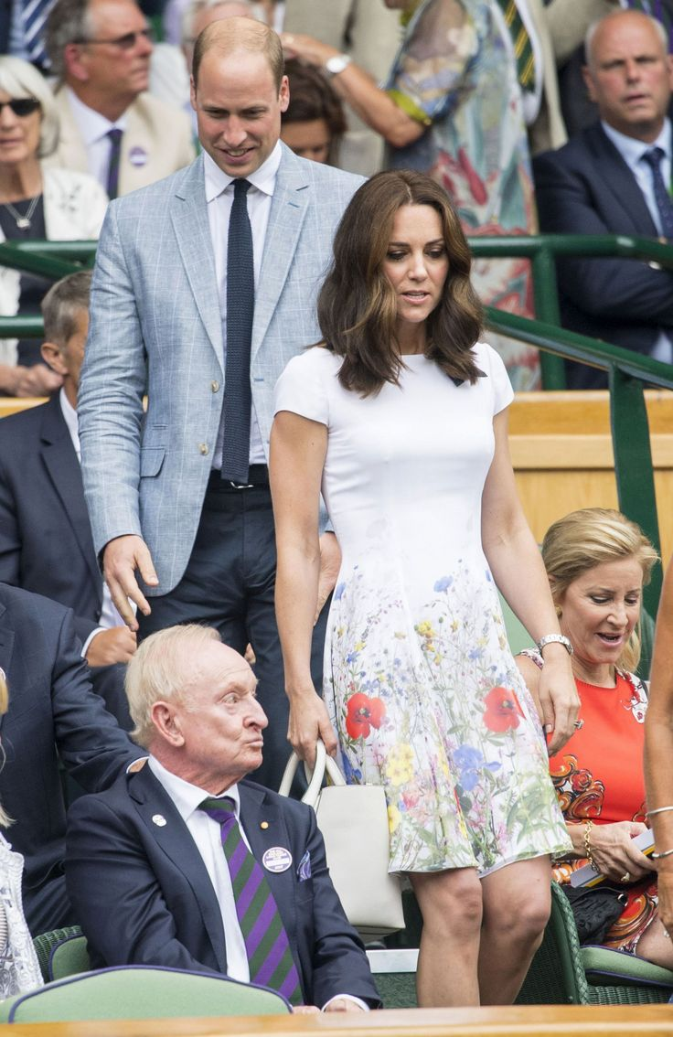 16 July 2017 - Prince William and Duchess Catherine at Wimbledon - dress by Catherine Walker