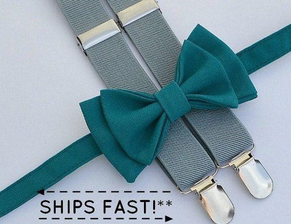 Teal Bow Tie & Grey Suspenders -- Ring Bearer Outfit -- Groomsmen Bow Tie…