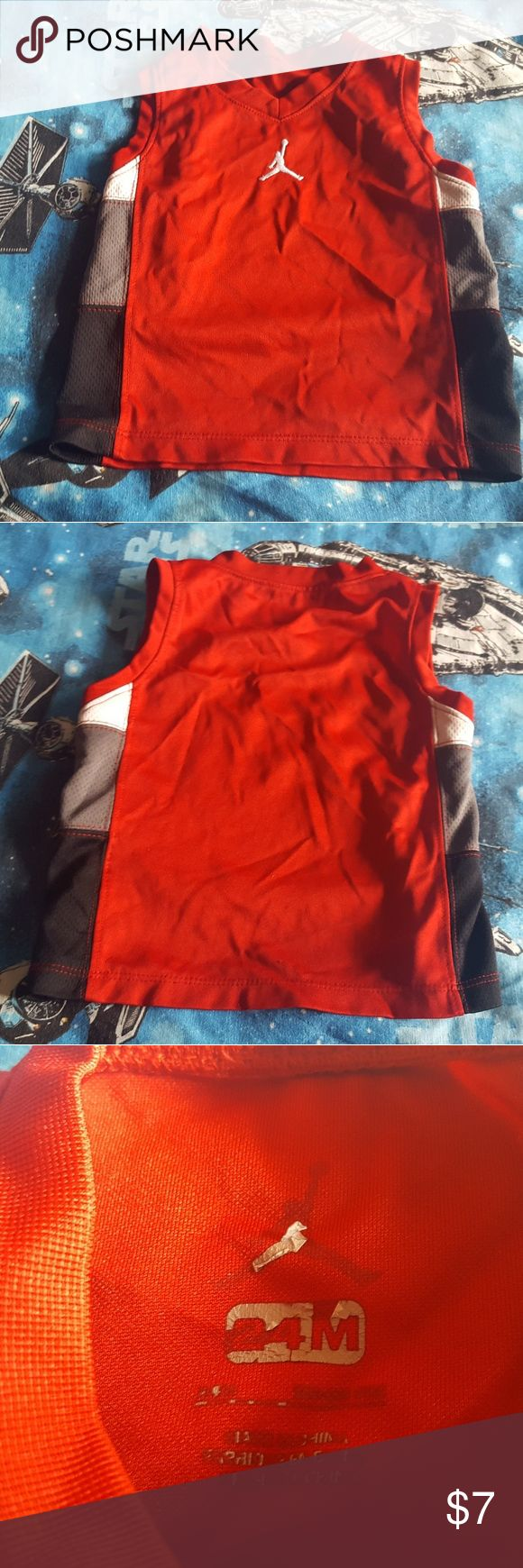 Boys Jordan Basketball Jersey Shirt 24 months Good condition. No stains or tears. Size decal has wear. I specialize in baby/childrens clothing. Bundle items to save on shipping. All bundles get 10% off. New items added all the time! Jordan Shirts & Tops Tank Tops #babytanktopsboy