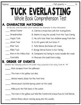 Tuck Everlasting Test: Final Book Test with Answer Key