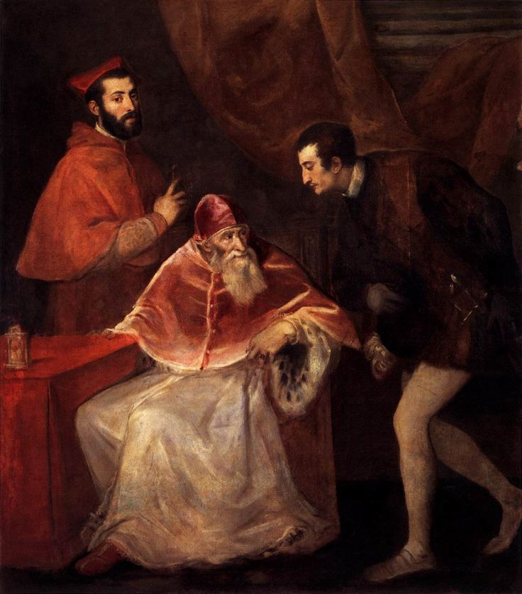 Pope Paul III and his Grandsons by the Italian artist Titian. It was commissioned by the Farnese family, and worked on during Titian's visit to Rome between autumn 1545 and June 1546. It shows Alessandro Farnese, better known as Pope Paul III, with two of his grandsons, Ottavio and Alessandro (who shared the same name as his grandfather). Ottavio kneels to his left; Alessandro, wearing a cardinal's dress, stands behind him to his right.