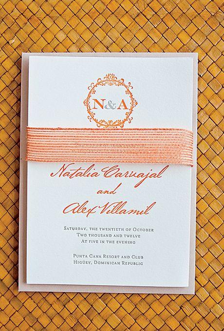 White wedding invitations with orange letterpress font   Angie Silvy   brides.com