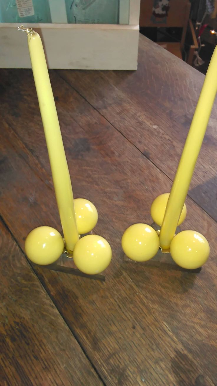 Exquisite pair of Vintage Retro Bright Yellow Candle Holders by ResoledResold on Etsy