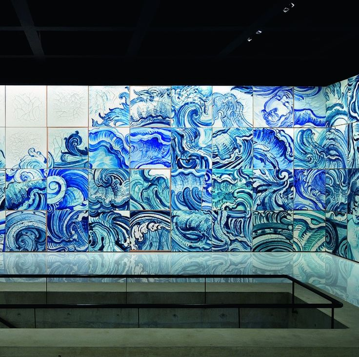 Adriana Varejãou0027s Blue And White Ceramic Tile Installation In The Swimming  Stadium Rio 2016