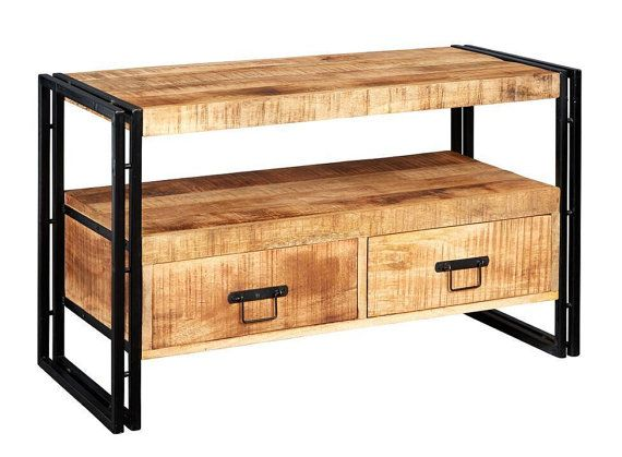 COSMO INDUSTRIAL TV STAND  Made from reclaimed metal and wood, this Industrial Vintage Large Tv stand will complement any surroundings.  Industrial Large Tv stand featuring wood and Metal and 3 generous drawers The Light grain Hardwood Left in its Natural state and colour with natural variations and slight cracking with a banded iron edges.  dimensions -  102CM X45CM X60CM (LXDXH)  IH DELIVERY      Assembly  Flat pack easy to assemble   Payment  Preferred payment via Paypal.  (PayPal is safe…