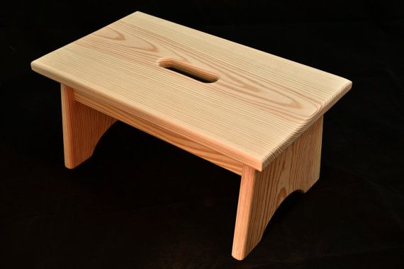 """Wood Step Stool with Handle Hole Unfinished Pine 7.5""""H"""
