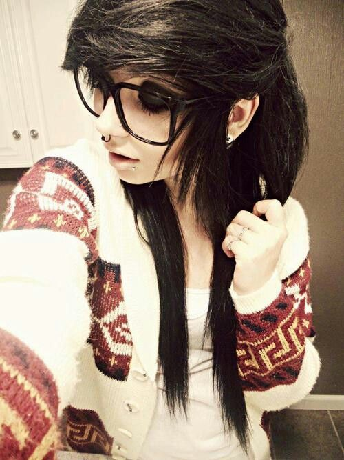 with Black hair glasses girls emo