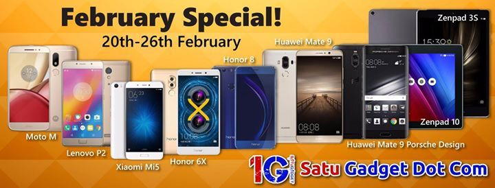February Special! [20th Feb - 26th Feb 2017]  Purchases above RM1000, applicable for International Hotel Voucher worth RM600. Applicable to all outlets and online purchase at www.satugadget.com.my   Single receipt of smartphone / tablets above RM1000 entitle to get RM600 International Hotel Voucher (Minimum 3 Starts Hotel; Bangkok, Jakarta and more!). T&C Apply.  Participating Brands:  Apple / Huawei / Samsung / Motorola / Xiaomi / Sony / Asus / LG  p/s: T&C might change without prior…