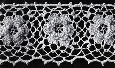 Irish Crochet Rose Motif Free Pattern : Irish Rose Edging crochet pattern from Flower Edgings ...