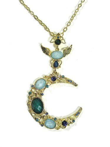 Crescent Moon Necklace Gypsy Cancer Hippie Psychic Vintage Blue Crystal Gold Pendant Fashion Jewelry Magic Metal. $19.90. Search DaisyJewel for more great gems!. Beautiful and Decadent Gem Encrusted Golden Crescent Moon Necklace