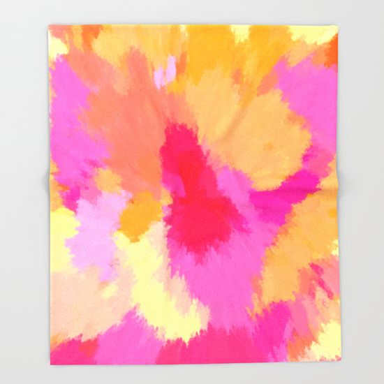 Pink, orange and yellow watercolors Spring King size polyester and sherpa fleece throw blanket. Also has matching pillows, duvet covers and more!