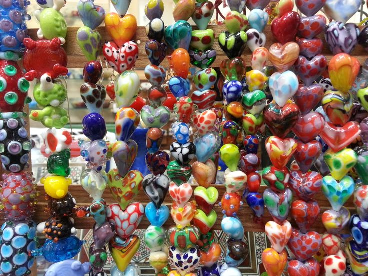 Hearts  Murano glass Beads by Rankoussi design ,, in Bead Shop Rome , Via Sora 30/31 Rome Italy ...