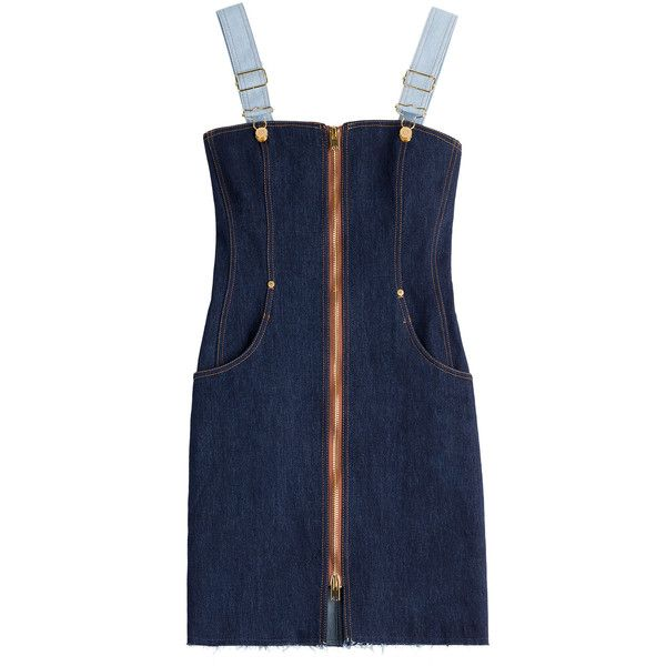 Natasha Zinko Denim Dungaree Mini Dress ($965) ❤ liked on Polyvore featuring dresses, blue, blue dress, slim fit dress, mini dress, day to night dresses and zip front mini dress