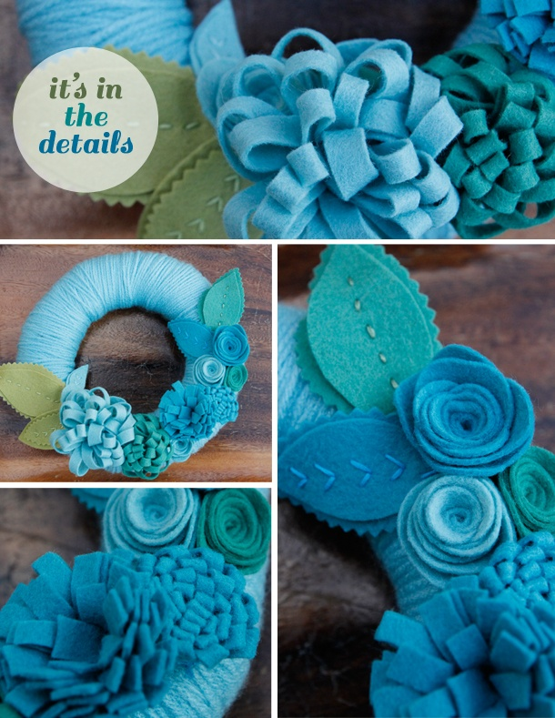 Details of custom-made yarn-wrapped wreath by Catshy Crafts.