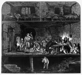 An overcrowded and unsanitary lodging house, London, 1848