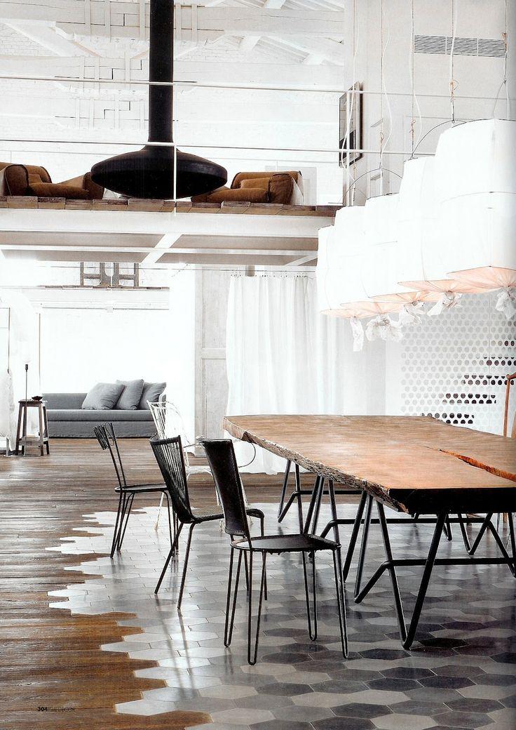 tile / wood floors: Ideas, Spaces, The Loft, Area Rugs, Tile, Wood Floors, Interiors Design, Hexagons, Rooms