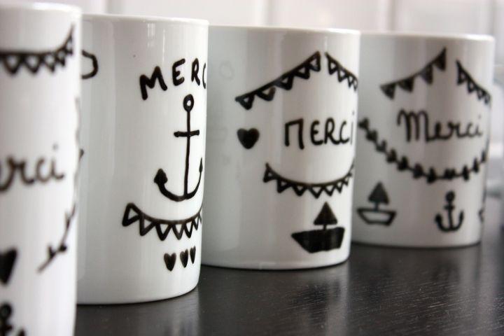 ideé cadeau pour les maitresses... feutre porcelaine + tasse blanche