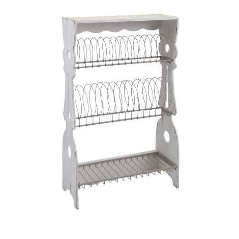 Whether this hangs on the wall or sits gracefully on a counter, this rustic style wood plate rack features three storage tiers and a weathered white finish. Designed by Ella Elaine.
