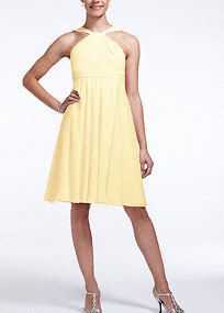 Short Crinkle Chiffon Y Neck Bridesmaid Dress, Style F15600 in Canary #davidsbridal #bridesmaiddress #rusticwedding