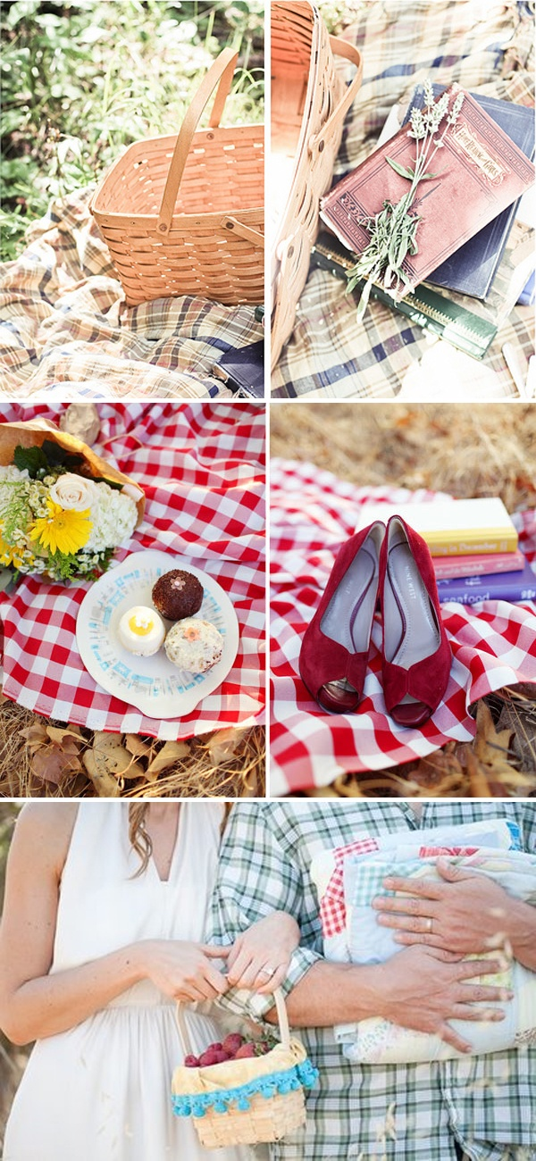 picnic themed wedding, maybe gingham table runners and napkins? Picnic baskets part of centerpieces? courtesy chezwedd