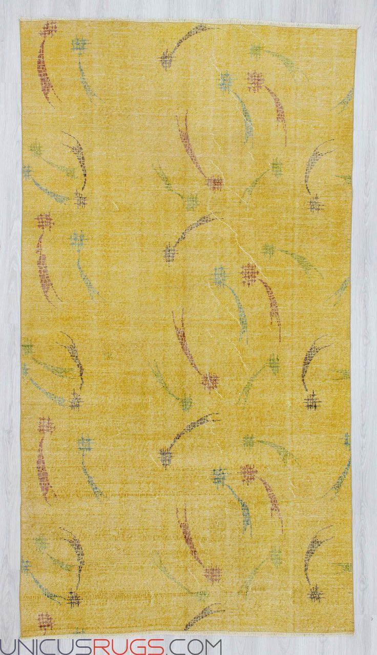 """Vintage yellow art deco rug from İsparta region of Turkey.İn good condition.Approximately 50-60 years old. Width: 5' 5"""" - Length: 9' 11"""" Vintage Art Deco Rugs"""