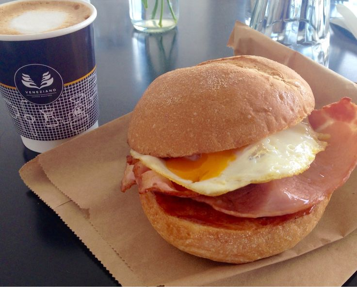 Sunday special - takeaway $10 egg & bacon roll with a small coffee - neighbourhood food Gungahlin
