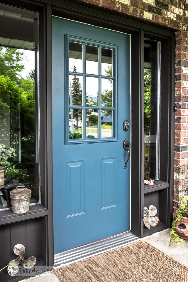 From abandoned home burgundy, to high-five blue! Gorgeous, Industrial front door redo with painting tips, using Homestead Blue by Fusion Mineral Paint.