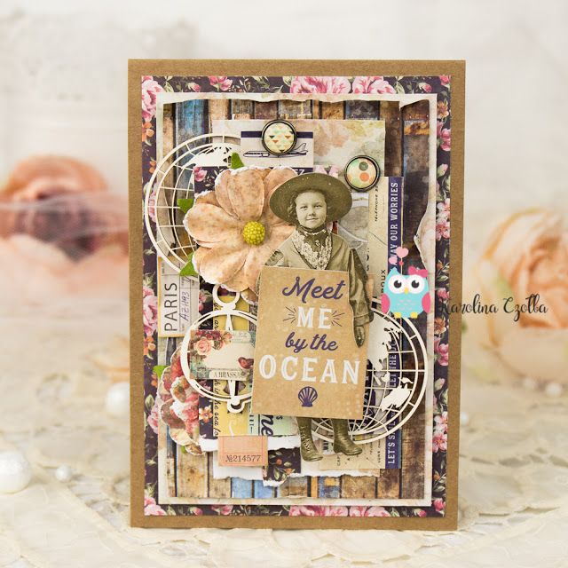 Vintage, traveler card with Scrapiniec chipboards and Prima Marketing St. Tropez collection :) #primamarketing #cardmaking #scrapiniec #card #handmadecards #kartka