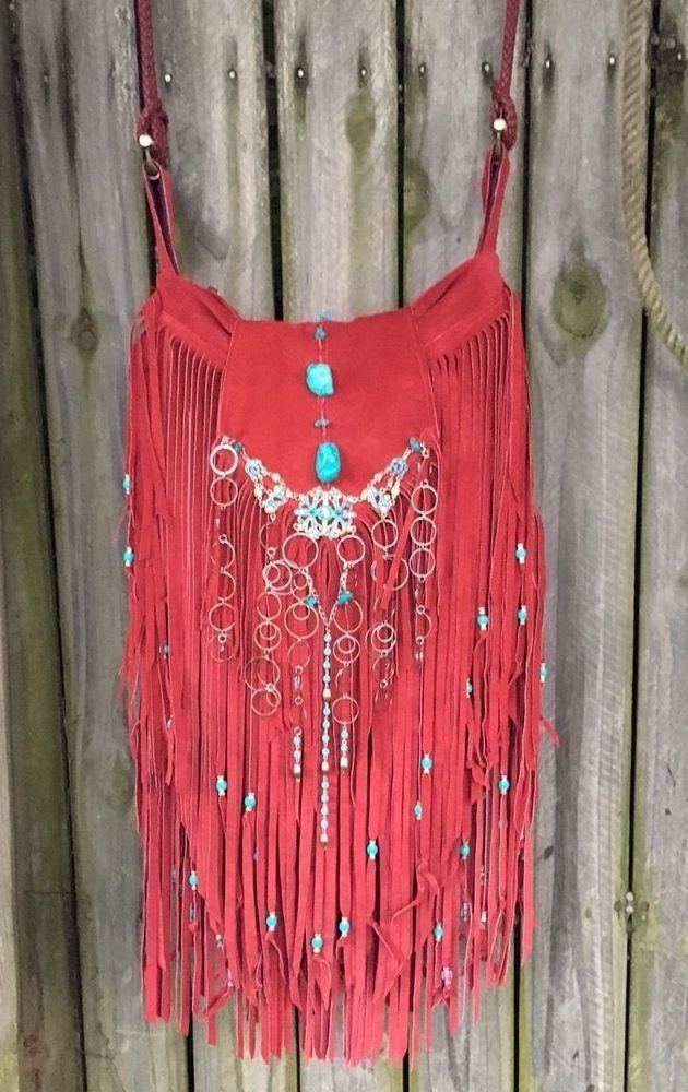 Handmade Red Suede Fringe Bag Hippie Gypsy Boho Hobo Up ...