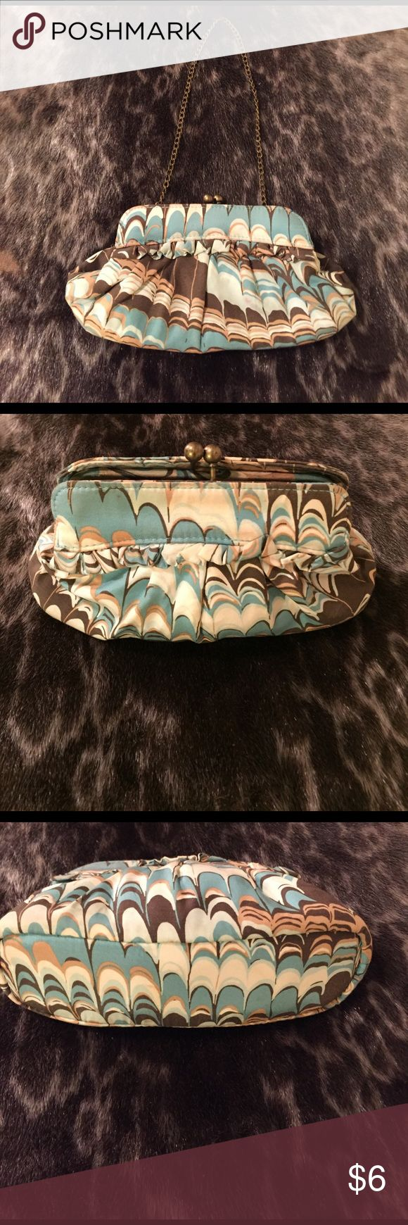 Gap Mini purse/clutch Brown,tan,turquoise and cream purse/clutch. Perfect for spring or summer! Goes with anything neutral GAP Bags Mini Bags