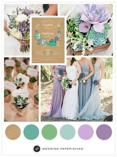 We love inspiration for a garden wedding. This is great for any venue, especially for those who live in a desert. A lavender succulent is chic and cheap!