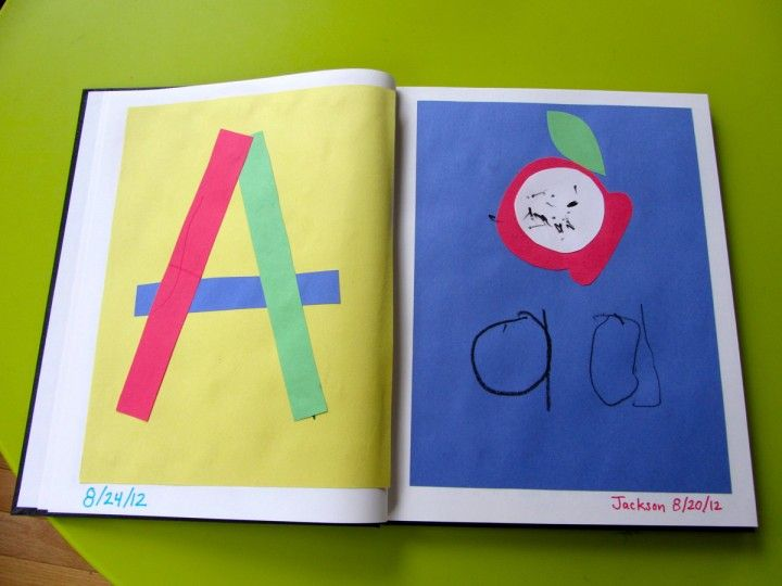 Preschool Fun - Letter A for Apple in a alphabet book.  I like the book idea.