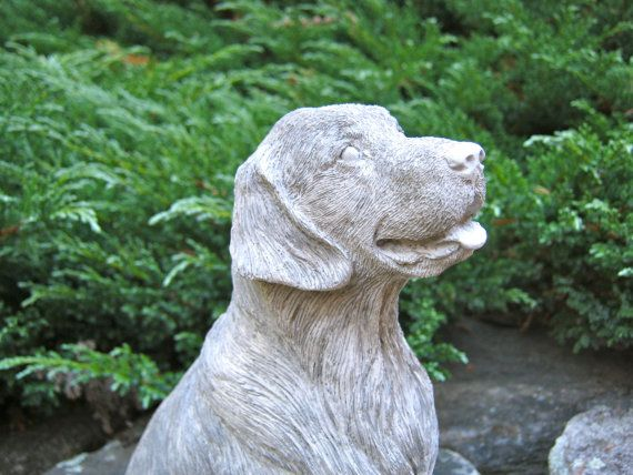 Golden Retriever Statue Concrete Dog Cast In Stone Cement Pet Figures For  Home And Garden Natural