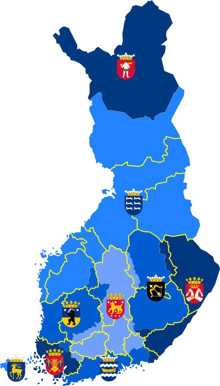 Historiallisten maakuntien alueet Suomessa (nykymaakuntien rajat keltaisella)