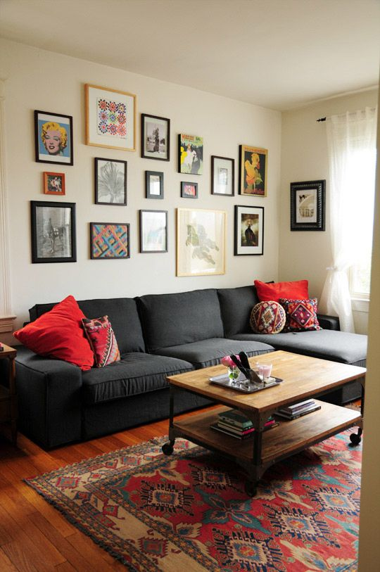 "Julie Living Room, from Apartment Therapy: bit more colorful than I usually go, but I love the ""family style"" art display, the size of the couch and the genearl warmth"