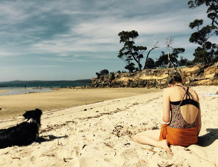 Claire and Saffy the wonderdog with Hamish at Shelly Beach in Koonya, Tasman Peninsular, Lutruwita. A very sacred place for Palawa women, and my most favourite beach because it is so sheltered and there are rock pools and the most lovely teeny tiny shells