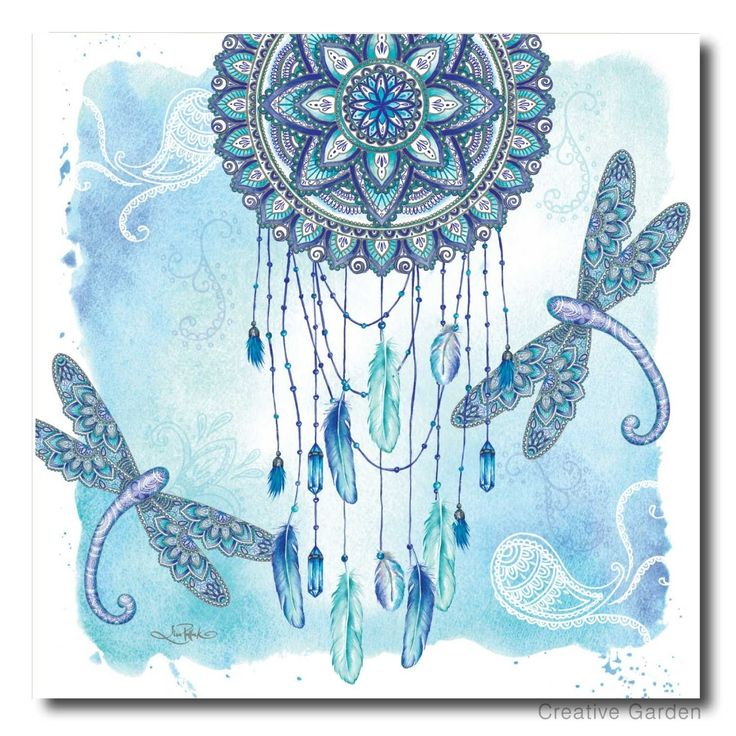 Featuring Lisa Pollock's signature design mandala dreamcatcher and mandala dragonflies, finished in blue, white & soft teals. Zen Dragonfly Stretch Canvas. From Australian Artist & Designer Lisa Pollock's Art from the Heart collection. | eBay!