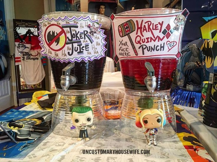 Batman Birthday Party Drinks. Superhero Birthday Party Ideas. Joker Juice. Batman Birthday Party Ideas. Superhero Birthday Party. Food, Decorations, and Fun. The Joker, Harley Quinn, Superman, Justice League, Suicide Squad, and more!