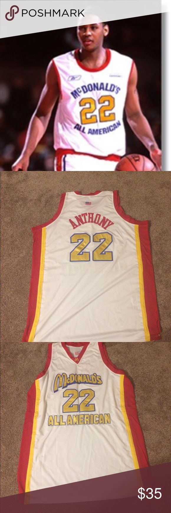 Retro Melo Anthony McD's All-Star Jordan Vintage Carmelo Anthony McDonald's All-American Replica Jersey. Perfect Condition, Size XL. Tops Tees - Short Sleeve