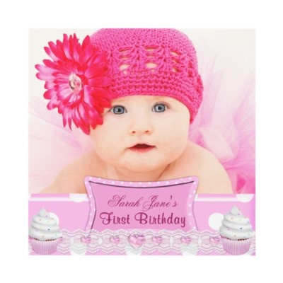 First Birthday 1st Girl Pretty Pink Cupcakes Baby Invitations by Zizzago