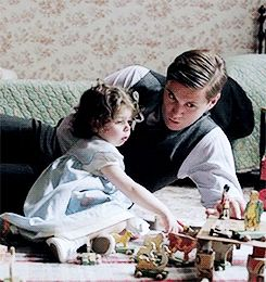 Tom and little Sybbie, this was so sweet, just playing with his daughter