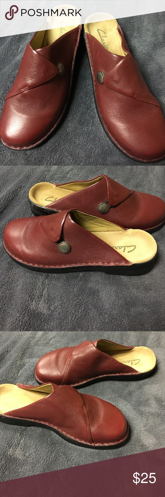Clark's shoes Clark's slip on shoes reddish color  never worn Clarks Shoes