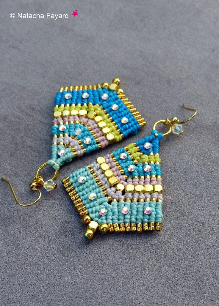 Bollywood style micro macrame earrings - rainbow pastel colors, gold metal, rhinestones.  Available on my Etsy Shop.  © Natacha Fayard