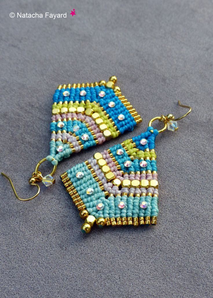 Bollywood style micro macrame earrings - rainbow pastel colors, gold metal, rhinestones.  Available on my Etsy Shop.  © Natacha Fayard